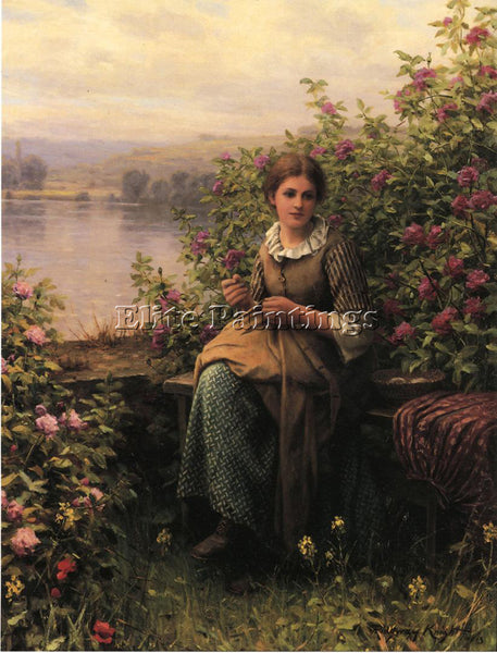 DANIEL RIDGWAY KNIGHT MENDING ARTIST PAINTING REPRODUCTION HANDMADE CANVAS REPRO