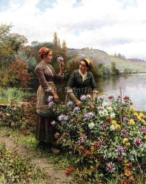 DANIEL RIDGWAY KNIGHT PEASANT GIRLS IN FLOWER GARDEN ARTIST PAINTING HANDMADE