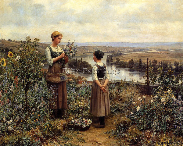 DANIEL RIDGWAY KNIGHT 1PICKING FLOWERS ARTIST PAINTING REPRODUCTION HANDMADE OIL