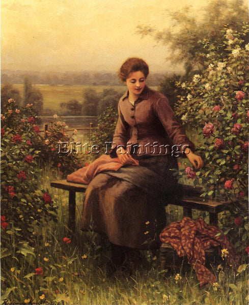 DANIEL RIDGWAY KNIGHT SEATED GIRL WITH FLOWERS ARTIST PAINTING REPRODUCTION OIL