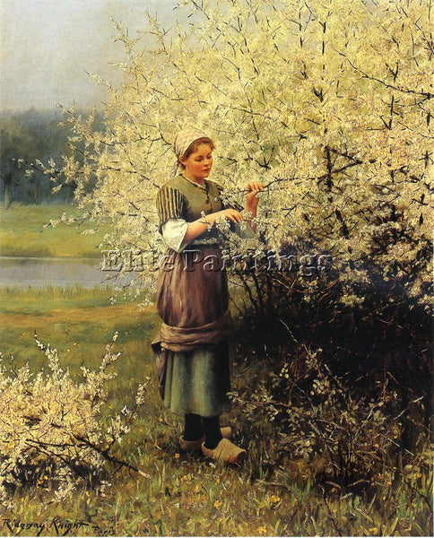 DANIEL RIDGWAY KNIGHT SPRING BLOSSOMS ARTIST PAINTING REPRODUCTION HANDMADE OIL