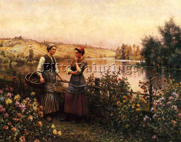 DANIEL RIDGWAY KNIGHT STOPPING FOR CONVERSATION ARTIST PAINTING REPRODUCTION OIL