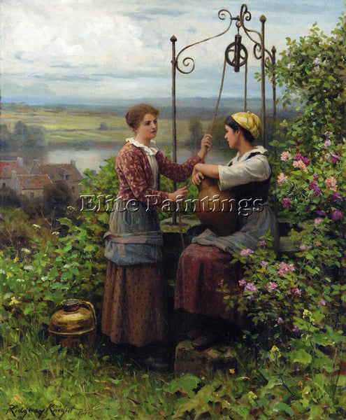 DANIEL RIDGWAY KNIGHT THE CONVERSATION ARTIST PAINTING REPRODUCTION HANDMADE OIL