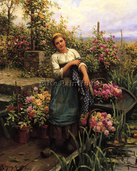 DANIEL RIDGWAY KNIGHT THE FLOWER BOAT ARTIST PAINTING REPRODUCTION HANDMADE OIL