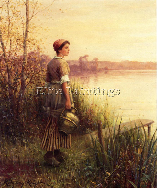 DANIEL RIDGWAY KNIGHT THE GOLDEN SUNSET ARTIST PAINTING REPRODUCTION HANDMADE