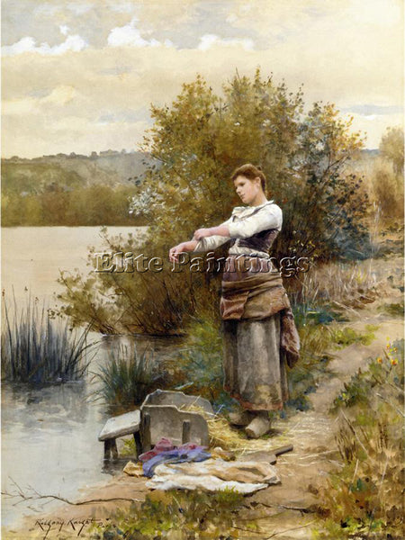 DANIEL RIDGWAY KNIGHT THE LAUNDRESS ARTIST PAINTING REPRODUCTION HANDMADE OIL