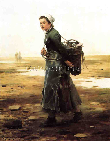 DANIEL RIDGWAY KNIGHT THE OYSTER GATHERER ARTIST PAINTING REPRODUCTION HANDMADE