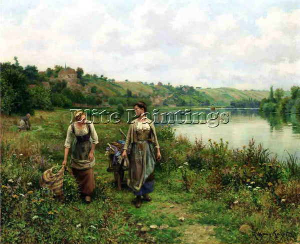 DANIEL RIDGWAY KNIGHT THE SEINE AT VERNON ARTIST PAINTING REPRODUCTION HANDMADE