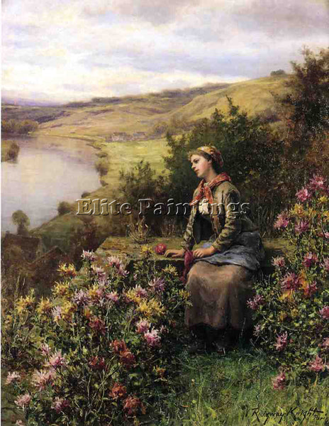 DANIEL RIDGWAY KNIGHT WAITING ARTIST PAINTING REPRODUCTION HANDMADE CANVAS REPRO