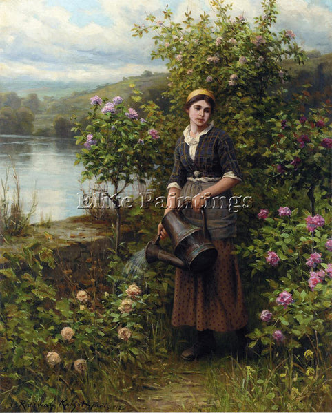 DANIEL RIDGWAY KNIGHT WATERING THE GARDEN ARTIST PAINTING REPRODUCTION HANDMADE