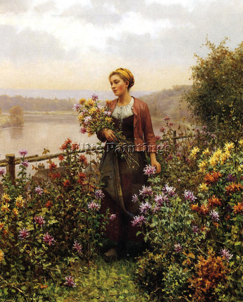 DANIEL RIDGWAY KNIGHT WOMAN IN A GARDEN ARTIST PAINTING REPRODUCTION HANDMADE