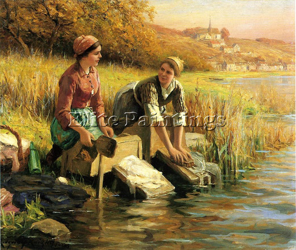 DANIEL RIDGWAY KNIGHT WOMEN WASHING CLOTHES BY A STREAM ARTIST PAINTING HANDMADE