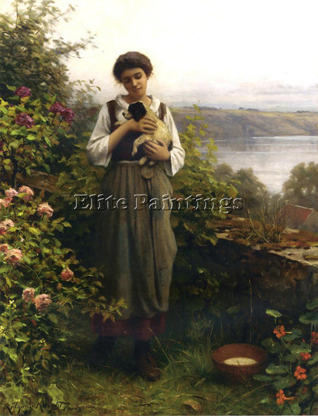 DANIEL RIDGWAY KNIGHT YOUNG GIRL HOLDING A PUPPY ARTIST PAINTING HANDMADE CANVAS