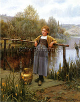 DANIEL RIDGWAY KNIGHT YOUNG GIRL BY A STREAM ARTIST PAINTING HANDMADE OIL CANVAS