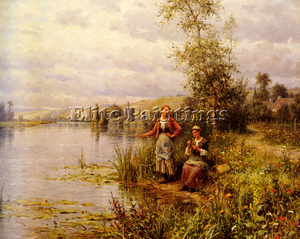 DANIEL RIDGWAY KNIGHT  LOUIS ASTON COUNTRY WOMEN AFTER FISHING SUMMER AFTERNOON