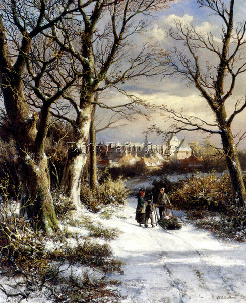 JOHANNES HERMANUS KOEKKOEK BAREND FIGURES ON A SNOWY ROAD ARTIST PAINTING CANVAS