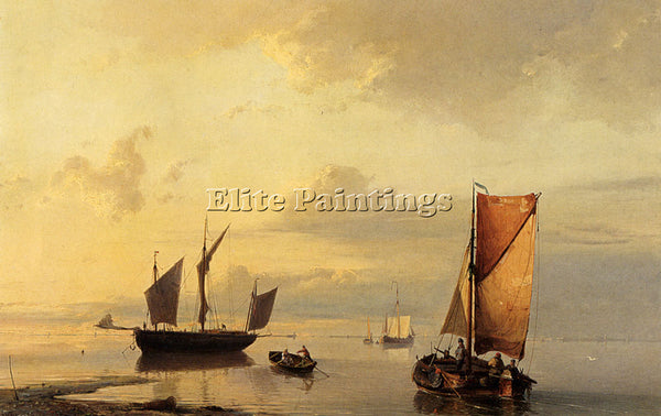 JOHANNES HERMANUS KOEKKOEK BAREND SHIPPING IN A CALM ARTIST PAINTING HANDMADE