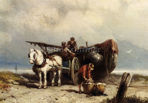 JOHANNES HERMANUS KOEKKOEK UNLOADING THE CATCH ARTIST PAINTING REPRODUCTION OIL