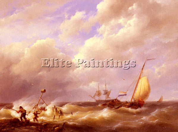 JOHANNES HERMANUS KOEKKOEK KOEKKOEK WILLEM A SEA PIECE ARTIST PAINTING HANDMADE