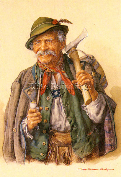 PETER KRAEMER WOODCUTTERS MOUNTAINEERS AND HUNTERS ARTIST PAINTING REPRODUCTION