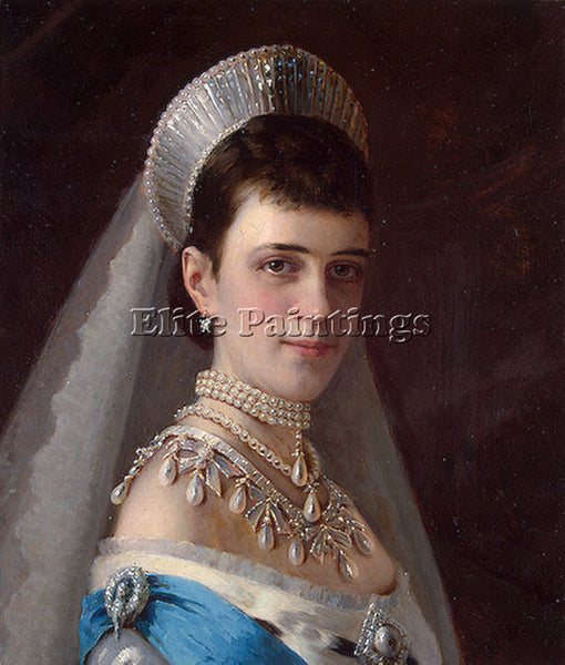 KRAMSKOY PORTRAIT EMPRESS MARIA FYODOROVNA IN HEAD DRESS DECORATED WITH PEARLS