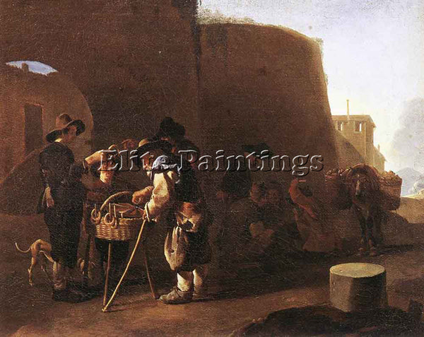 PIETER VAN LAER THE CAKE SELLER ARTIST PAINTING REPRODUCTION HANDMADE OIL CANVAS