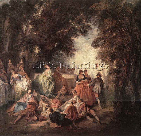 NICOLAS LANCRET COMPANY IN THE PARK ARTIST PAINTING REPRODUCTION HANDMADE OIL