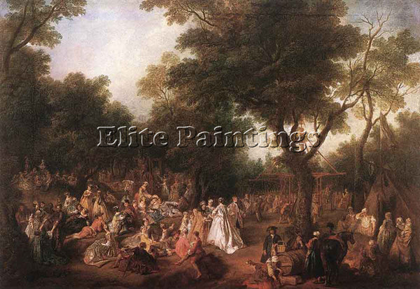 NICOLAS LANCRET FETE IN A WOOD ARTIST PAINTING REPRODUCTION HANDMADE OIL CANVAS