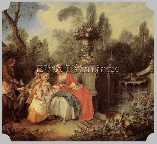 NICOLAS LANCRET LADY AND GENTLEMAN WITH TWO GIRLS AND A SERVANT ARTIST PAINTING