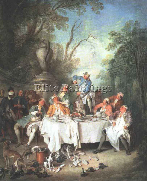 NICOLAS LANCRET LUNCHEON PARTY ARTIST PAINTING REPRODUCTION HANDMADE OIL CANVAS