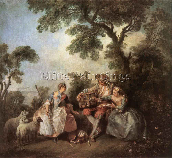 NICOLAS LANCRET THE BIRD CAGE ARTIST PAINTING REPRODUCTION HANDMADE CANVAS REPRO