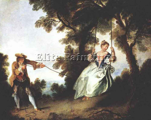 NICOLAS LANCRET THE SWING ARTIST PAINTING REPRODUCTION HANDMADE OIL CANVAS REPRO