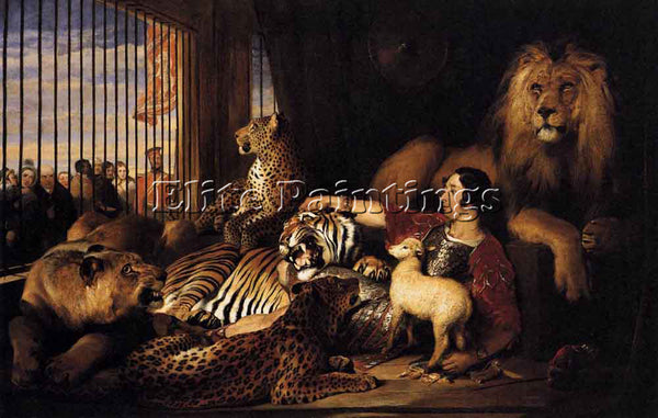 SIR EDWIN HENRY LANDSEER ISAAC VAN AMBURGH AND HIS ANIMALS ARTIST PAINTING REPRO
