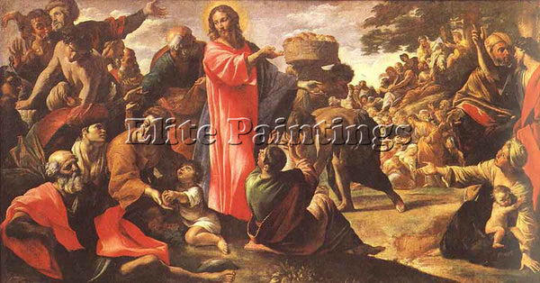 GIOVANNI LANFRANCO MIRACLE OF THE BREAD AND FISH ARTIST PAINTING HANDMADE CANVAS
