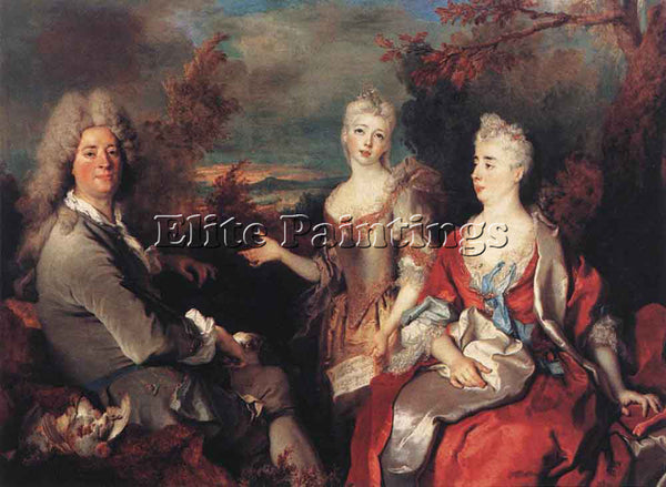 NICOLAS DE LARGILLIERE THE ARTIST AND HIS FAMILY ARTIST PAINTING HANDMADE CANVAS