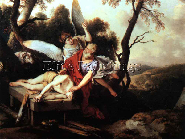 LAURENT DE LA HYRE ABRAHAM SACRIFICING ISAAC ARTIST PAINTING HANDMADE OIL CANVAS