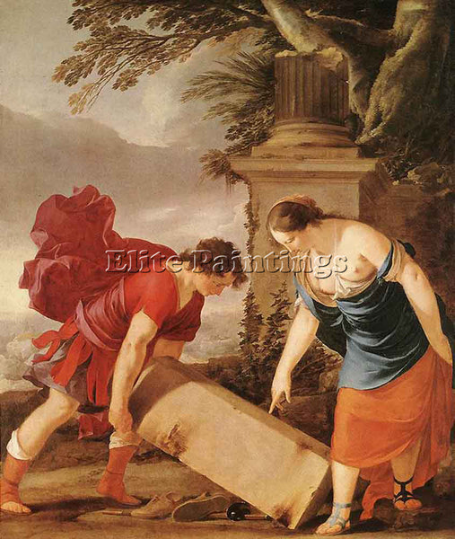 LAURENT DE LA HYRE THESEUS AND AETHRA ARTIST PAINTING REPRODUCTION HANDMADE OIL