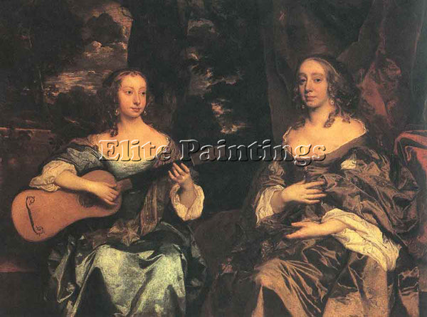 SIR PETER LELY TWO LADIES OF THE LAKE FAMILY ARTIST PAINTING HANDMADE OIL CANVAS