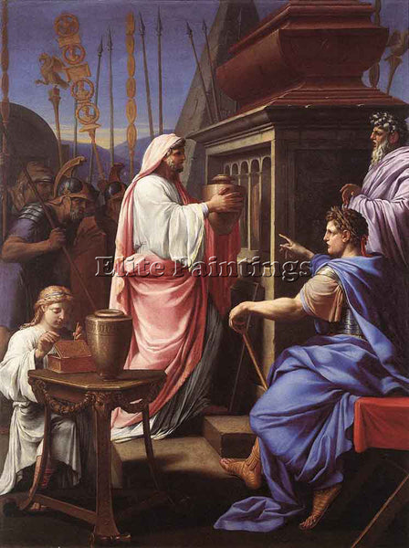 EUSTACHE LE SUEUR CALIGULA DEPOSITING THE ASHES OF HIS MOTHER PAINTING HANDMADE