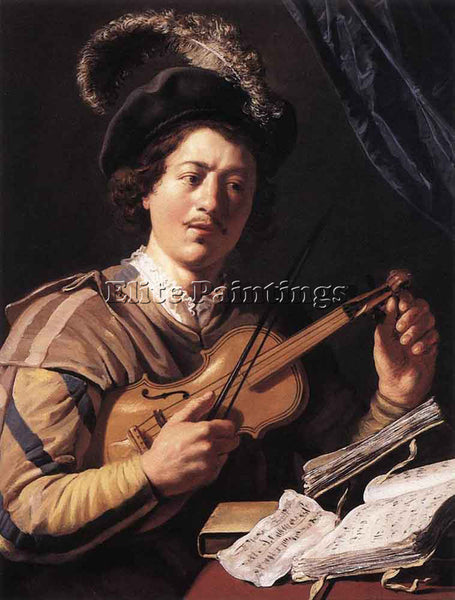 JAN LIEVENS  THE VIOLIN PLAYER ARTIST PAINTING REPRODUCTION HANDMADE OIL CANVAS