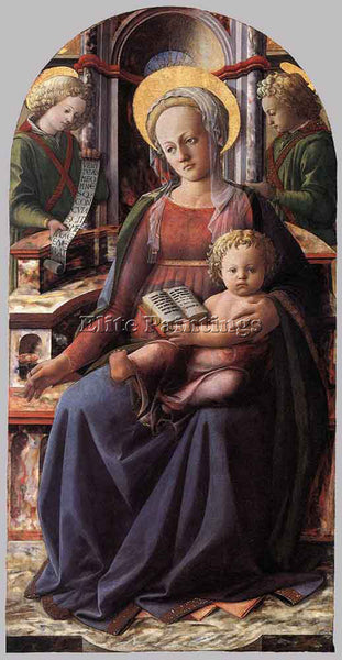 FRA FILIPPO LIPPI MADONNA AND CHILD ENTHRONED WITH TWO ANGELS PAINTING HANDMADE