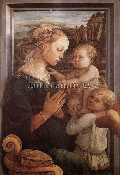 FRA FILIPPO LIPPI MADONNA WITH THE CHILD AND TWO ANGELS 1465 ARTIST PAINTING OIL