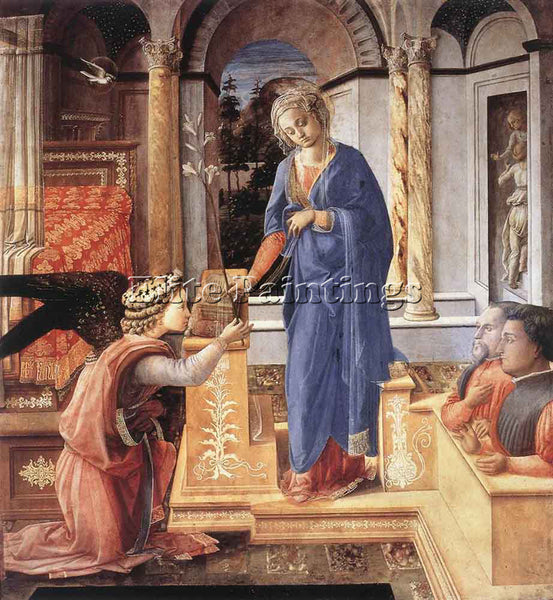 FRA FILIPPO LIPPI THE ANNUNCIATION WIH TWO KNEELING DONORS ARTIST PAINTING REPRO