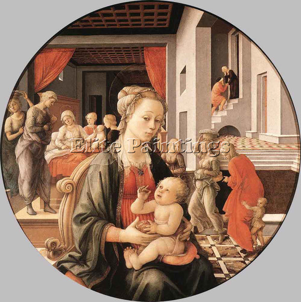 FRA FILIPPO LIPPI VIRGIN WITH CHILD AND SCENES FROM LIFE OF ST ANNE PAINTING OIL
