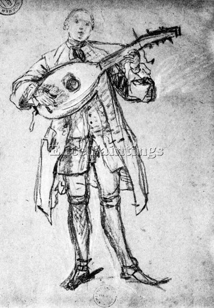 PIETRO LONGHI LUTE PLAYER ARTIST PAINTING REPRODUCTION HANDMADE OIL CANVAS REPRO