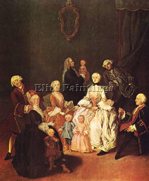 PIETRO LONGHI PATRICIAN FAMILY ARTIST PAINTING REPRODUCTION HANDMADE OIL CANVAS