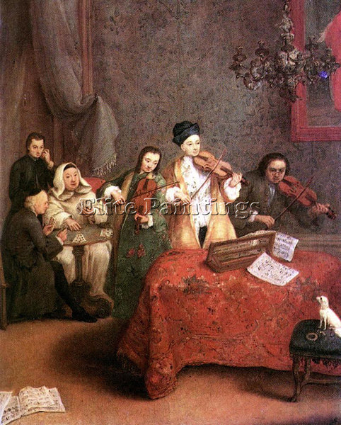 PIETRO LONGHI THE CONCERT ARTIST PAINTING REPRODUCTION HANDMADE OIL CANVAS REPRO