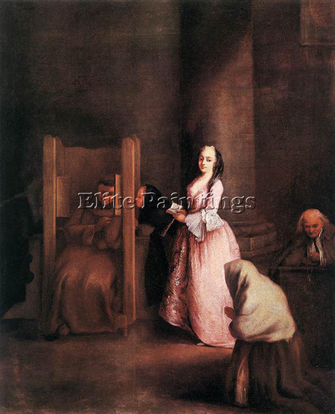 PIETRO LONGHI THE CONFESSION ARTIST PAINTING REPRODUCTION HANDMADE CANVAS REPRO