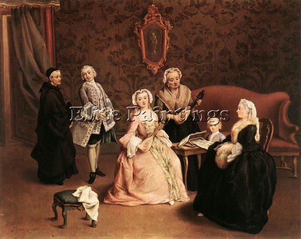 PIETRO LONGHI THE LITTLE CONCERT ARTIST PAINTING REPRODUCTION HANDMADE OIL REPRO