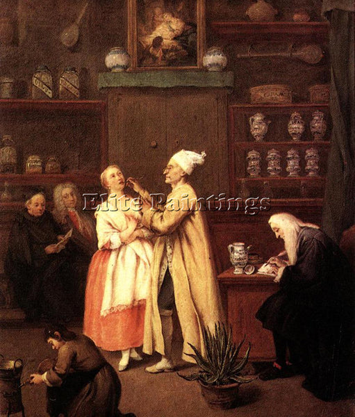PIETRO LONGHI THE SPICE VENDORS SHOP ARTIST PAINTING REPRODUCTION HANDMADE OIL